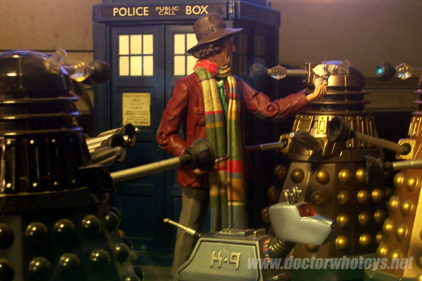 Fourth Doctor Tom Baker with Character Options Daleks, Tardis & K9