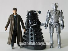 Doomsday Set featuring The Doctor in trenchcoat, Dalek Sec and Cyberman