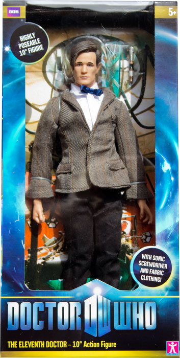 """DR WHO 11th DOCTOR MATT SMITH BEARD POSABLE 10/"""" ACTION FIGURE SONIC SCREWDRIVER"""