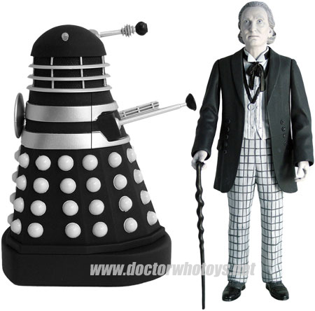 The First Doctor William Hartnell & Dalek (Invasion of Earth 1964) - Limited Edition of 1250 worldwide Forbidden Planet 2009 Exclusive Black & White Version