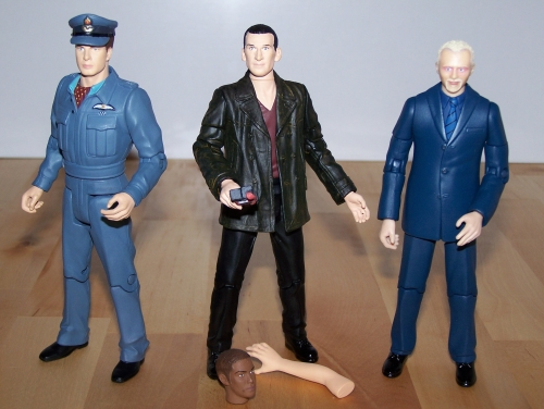 Captain Jack Harkness with Cap Accessory, The Ninth Doctor with Auton Arm, Auton 'Mickey' Head and Anti Plastic Bomb & The Editor