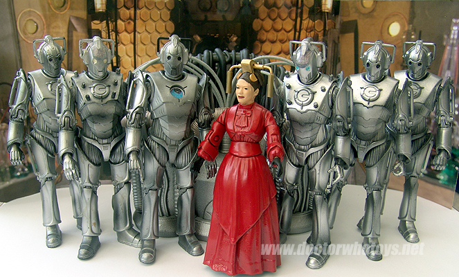 Custom Miss Hartigan and Character Cyber Controller (white & blue eyes versions), Cyber Leader and Cybermen