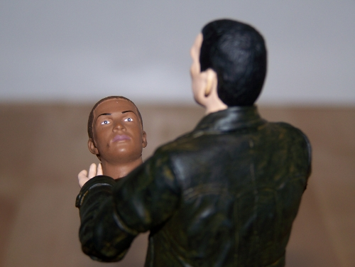 The Ninth Doctor with Auton 'Mickey' Head