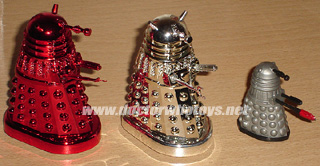 Product Enterprise Chrome Miniature Talking Movie Daleks. The red chrome one was a limited run of 500. The small one is a Dalek with Pyroflame limited edition.  - Thanks Lee