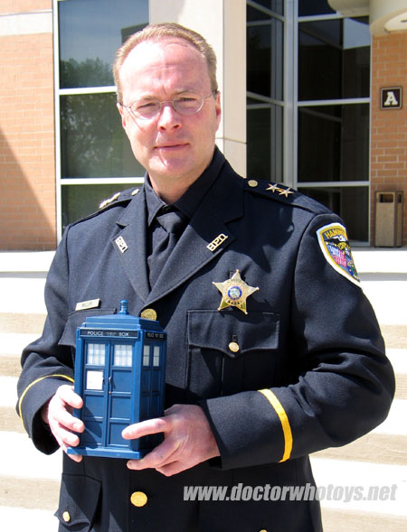 Police Chief Brian Miller exhibits the Flight Control Tardis