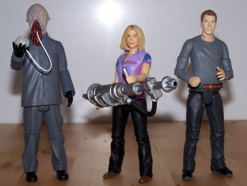 The Ood featuring Glow-In-The-Dark Eyes and Translation Orb, Rose Tyler With Ice Extinguisher & Toby Zed Un-Possessed