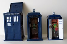Tardis Cookie flip top, Flight Control Tardis interior and Tardis Money Box with opening doors