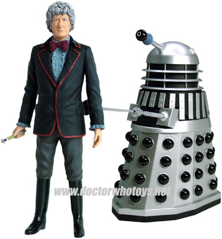 The Third Doctor Jon Pertwee & Silver Dalek Forbidden Planet 2009 Exclusive