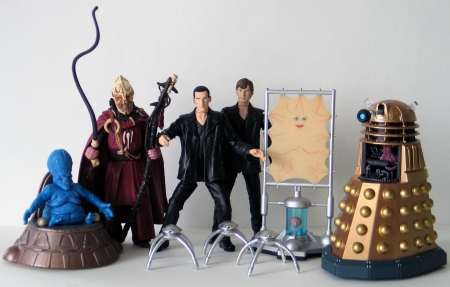 Moxx of Balhoon, Sycorax Leader, The Doctor Regeneration Set, Cassandra and Robot Spiders and Dalek with Mutant Reveal
