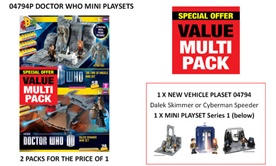 Character Building Value Multi Packs Offer on Dalek Skimmer and Cyberman Speeder Mini Vehicle Sets